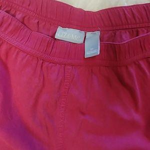 Liz & Me Hot Pink Crinkled Capri Pants